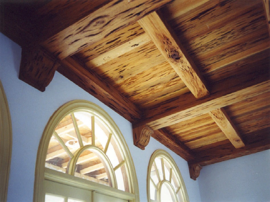 Living room ceiling, river-recovered pecky cypress, view 1 -<br />Hobe Sound