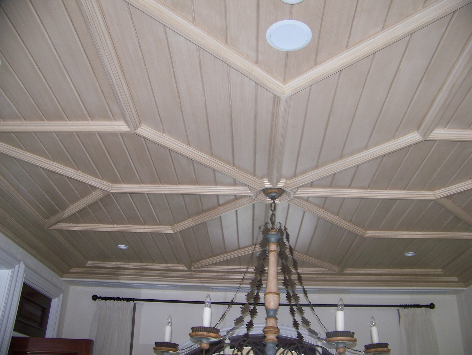 Prefab'd dining room ceiling with decorative millwork<br />- Nassau, Bahamas (Lyford Cay)