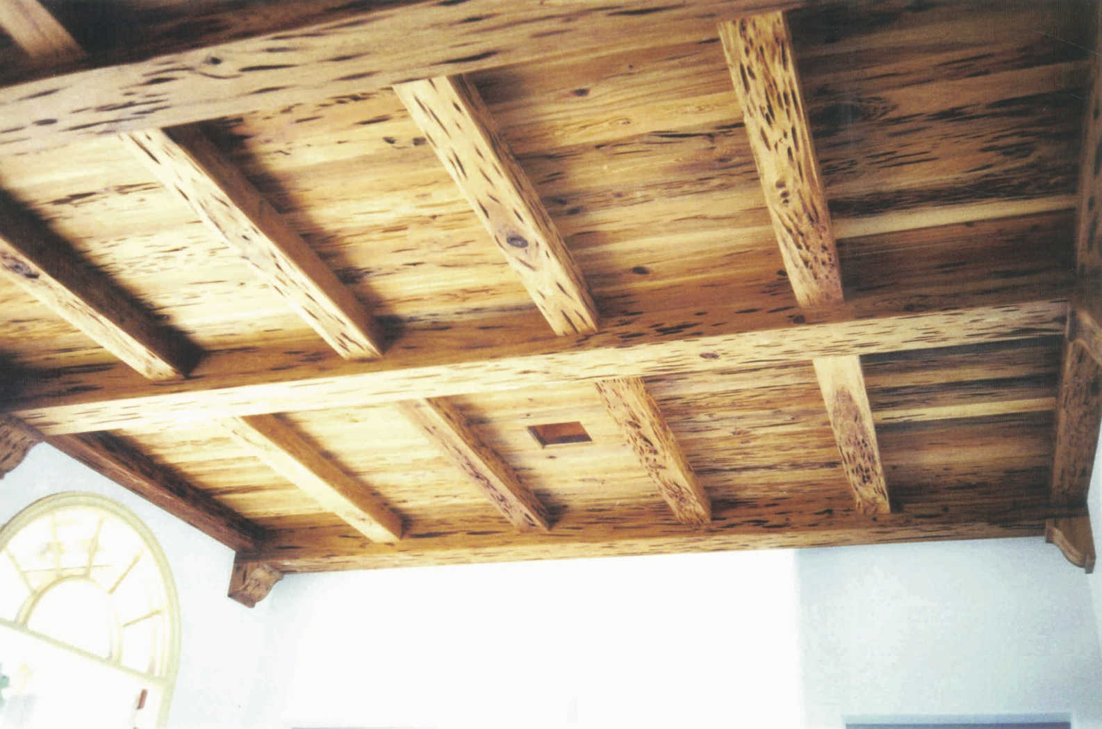 Living room ceiling, river-recovered pecky cypress, view 2 -<br />Hobe Sound