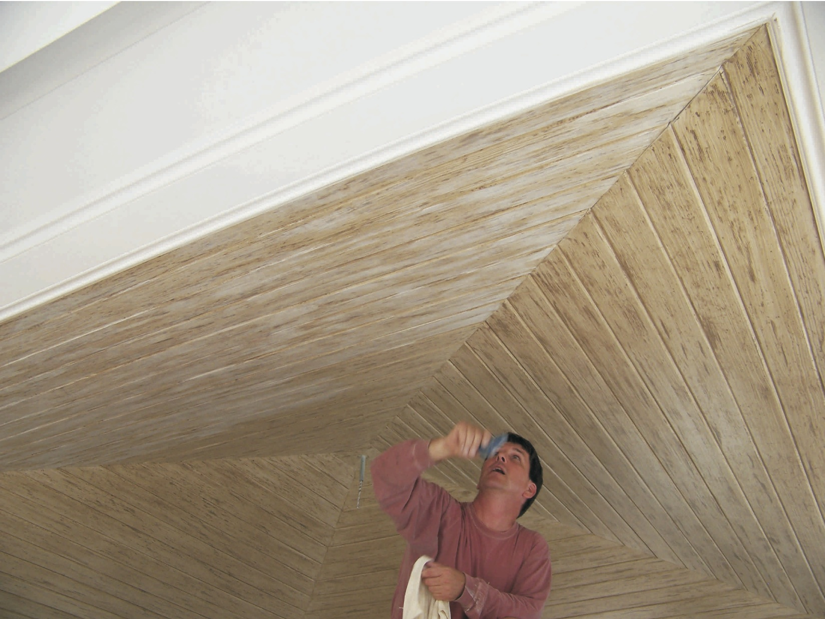 Ceiling faux finishing in process - Nassau, Bahamas (Lyford Cay)
