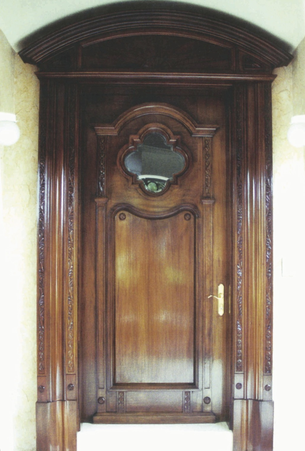 Hand-carved outer frame and pediment to match antique door -<br />Sailfish Point
