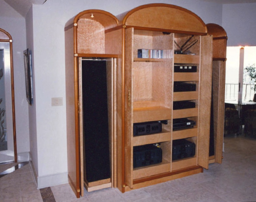 Birdseye maple with mahogany/gold-leaf accented<br />audio/display cabinet - Sailfish Point
