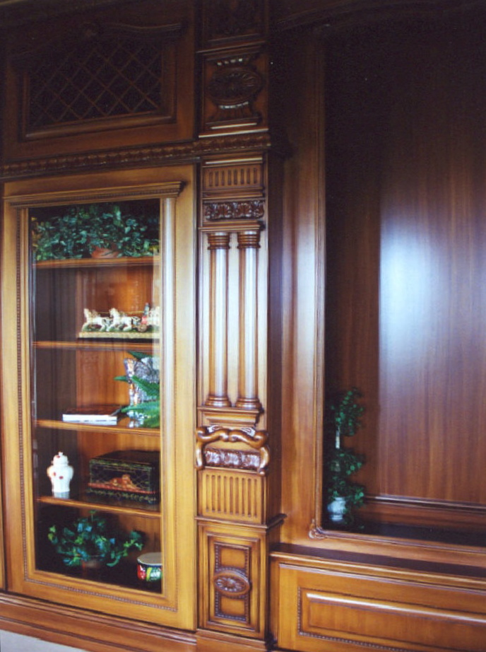 32' home theatre cabinet showing hand-carved pull-out<br />storage pilaster - Sailfish Point