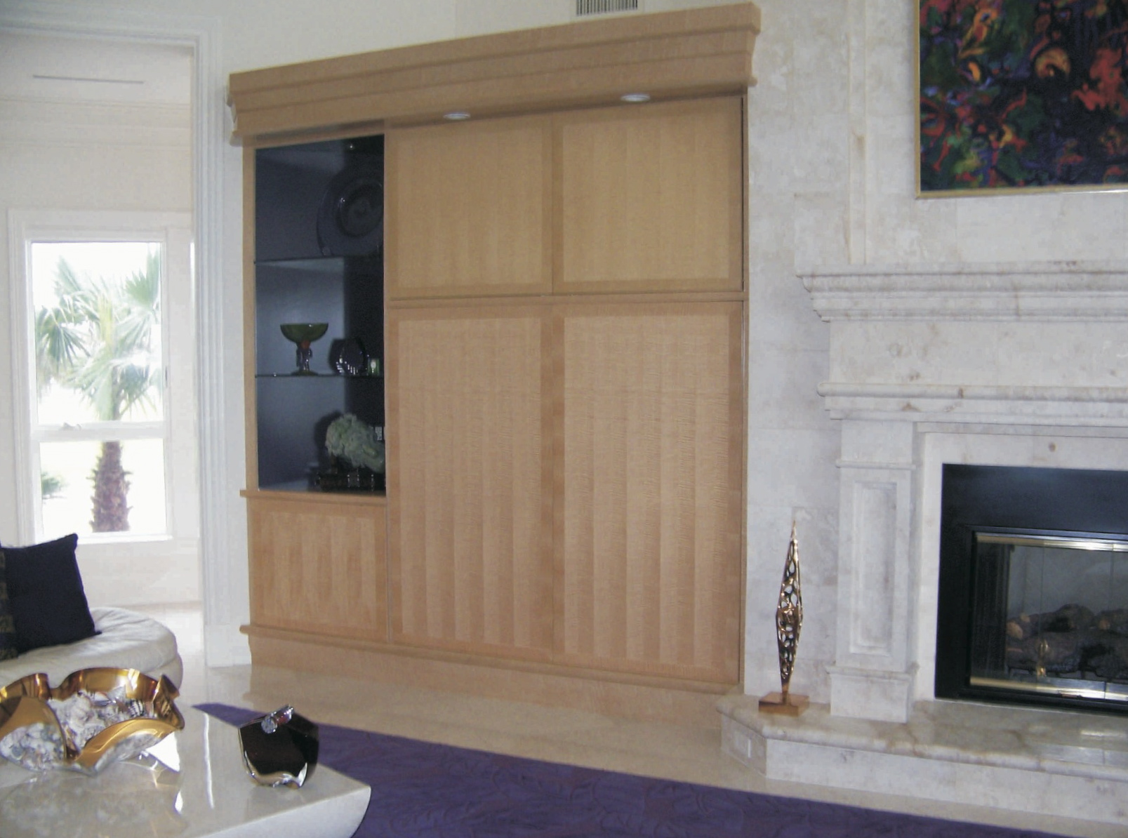 Sycamore with pattern, left side of great room display storage<br />cabinet - Sailfish Point