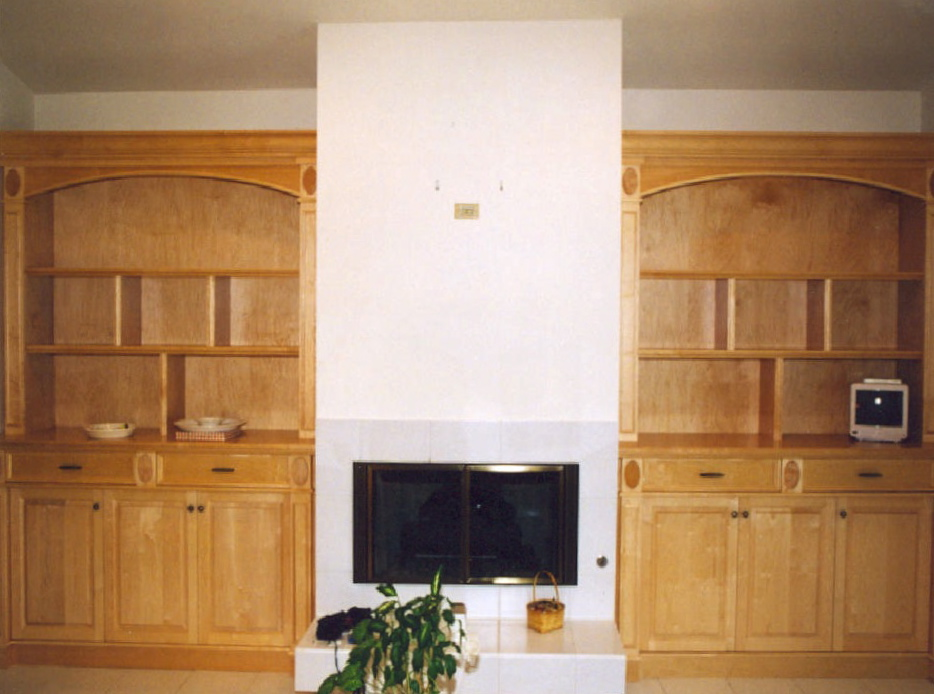 Niche cabinets at fireplace area - Harbor Ridge
